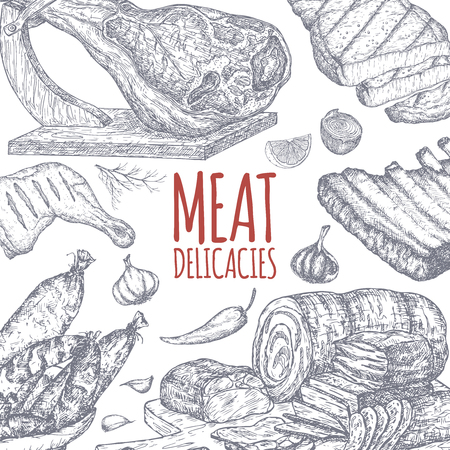 Meat delicacies tamplate based on hand drawn sketches.