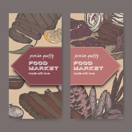 fiambres: Dos etiquetas de mercado de alimentos de color con delicias de carne basada en bocetos dibujados a mano de carnes frías, salchichas, a la parrilla y costillas. Grande para el mercado, restaurante, café de la parrilla, diseño de la etiqueta de la comida.
