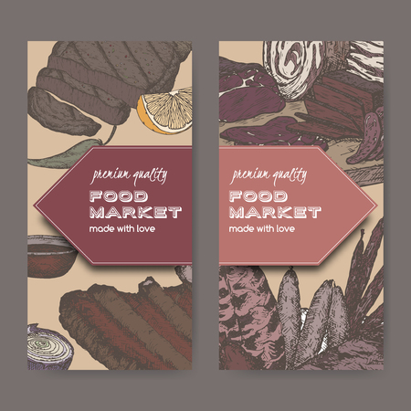 deli meat: Two color food market labels with meat delicacies based on hand drawn sketches of cold meats, sausages, grilled and ribs. Great for market, restaurant, grill cafe, food label design. Illustration