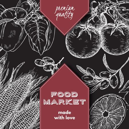 Etiket van de markt van het voedselmarket met hand getekende schets van groenten en fruit.
