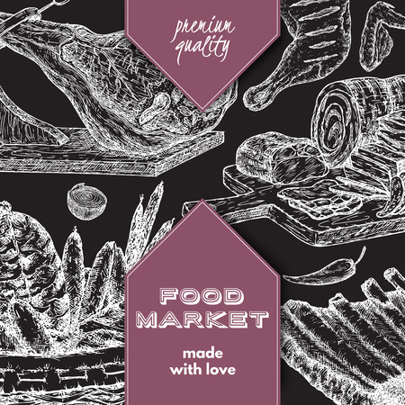 deli meat: Food market template with meat delicacies based on hand drawn sketches.