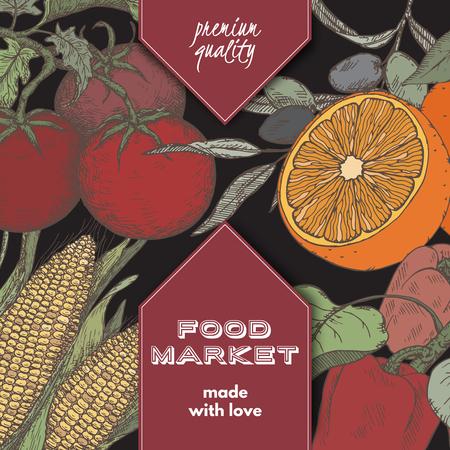 Kleur label etiket sjabloon met hand getekende schets van fruit en groenten. Stock Illustratie