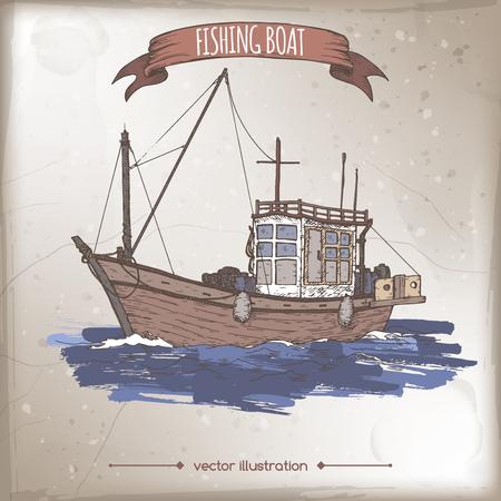 fishing village: Old fishing boat color sketch.