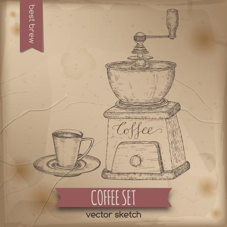 ヴィンテージのコーヒーミルとコーヒー カップをスケッチします。  イラスト・ベクター素材
