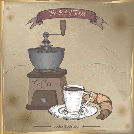 Vintage coffee mill and coffee cup sketch.