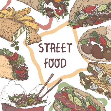 Plantilla de comida en la calle con bocetos a color de platos tradicionales sobre fondo de pizarra. Foto de archivo - 79639790