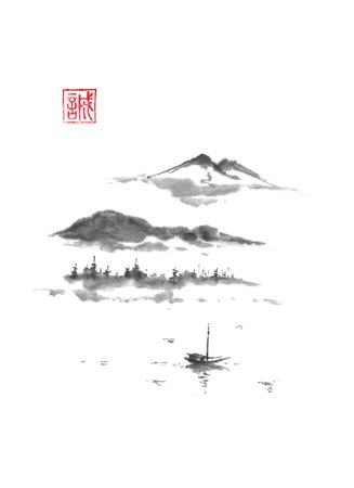 일본식 sumi-e 산악 호수 잉크 그림입니다.
