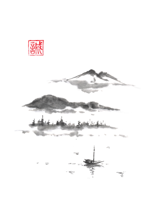 Japanese style sumi-e mountain lake ink painting.
