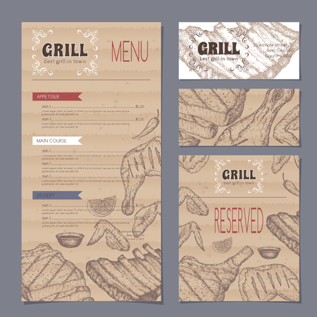 savoury: Vintage grill restaurant menu and stationery cards template with hand drawn sketch