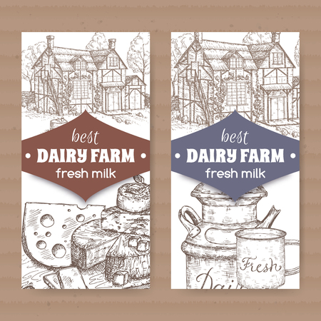 Two dairy farm shop labels with farmhouse, milk can, mug and cheese plate.