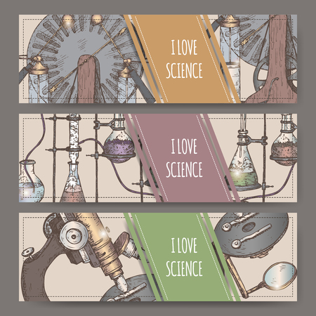 Three color landscape banners with hand drawn science equipment sketch.