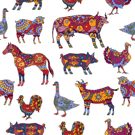 Seamless pattern based on farm animals decorated in ethnic style.