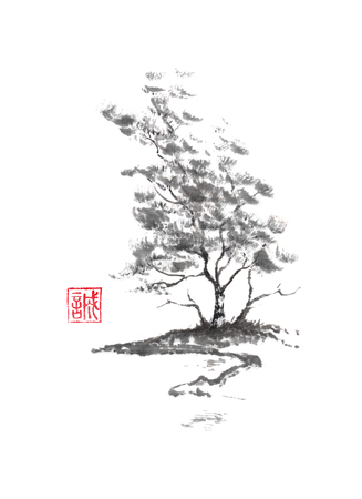 Birch tree on river bank Japanese style sumi-e ink painting.