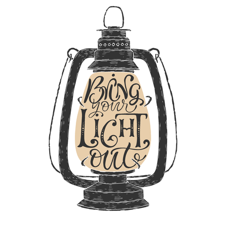 lighten: Brush lettering phrase placed in a vintage lamp form. Inspiration quote saying Bring your light out.
