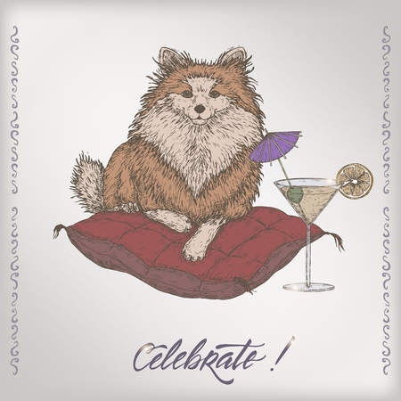 Romantic color vintage birthday card template with calligraphy, dog on a pillow and cocktail glass sketch. Illustration