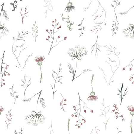 Patterm senza soluzione di continuità basata su foglie di inchiostro dipinte a mano, fiori e piante aromatiche a base di cannucce, cardo e aneto. Archivio Fotografico - 88143171