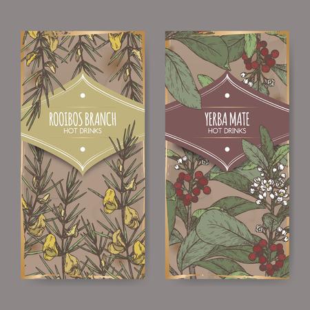 Set van twee kleurlabels met Rooibos aka Aspalathus linearis en Yerba mate alias Ilex paraguariensis takken.