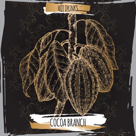 Cocoa tree aka Theobroma cacaotak schets met bladeren en bonen op zwart. Verzameling warme dranken.