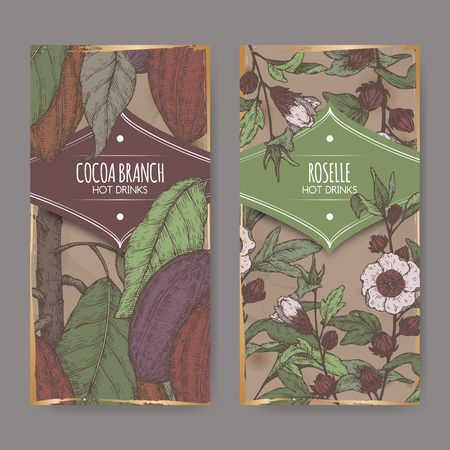 Set of two color labels with Roselle aka Hibiscus sabdariffa and Cocoa tree aka Theobroma cacao branch sketch.