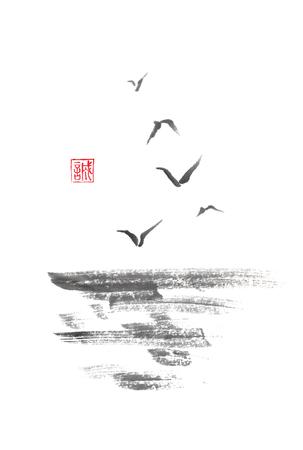Flying sea gulls Japanese style original sumi-e ink painting.