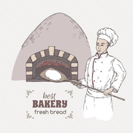 Modello di panetteria con panettiere e stufa colore schizzo vettoriale.