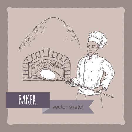 Baker and stove vector sketch.