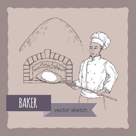 Schizzo di vettore di Baker e stufa. Vettoriali