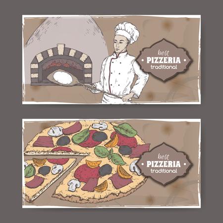 Due etichette da pizzeria di colore paesaggio con fornaio, forno e pizza su cartoncino.