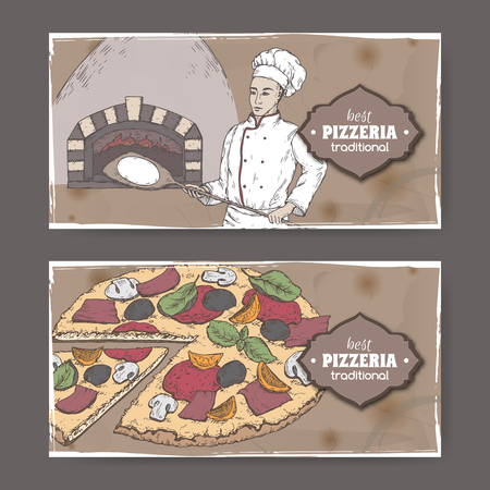 Two landscape color pizzeria labels with baker, oven and pizza on cardboard.