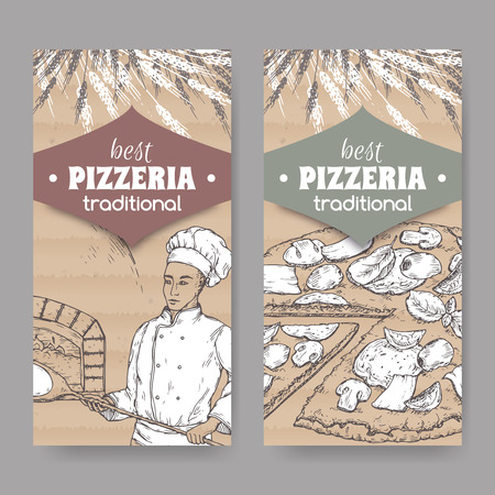 Two pizzeria labels with baker, oven and pizza on cardboard. Archivio Fotografico