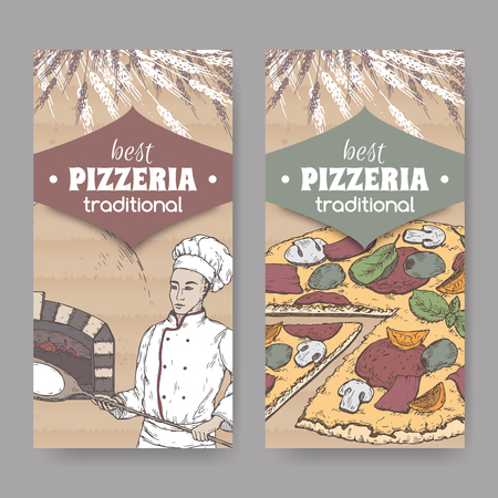 Two color pizzeria labels with baker, oven and pizza on cardboard.
