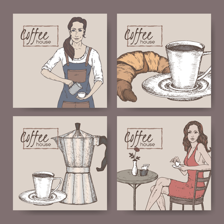 Four color coffee house labels with barista, coffee cup, moka pot, croissant and lady client. Great for bakery and restaurant, cafe ads, brochures, labels.