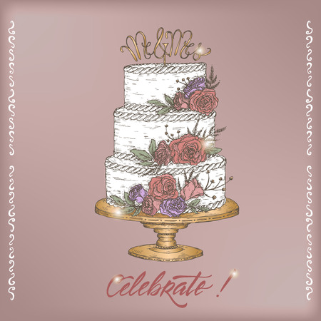 Romantic vintage Wedding greeting card template with calligraphy and cake color sketch. Ilustracja