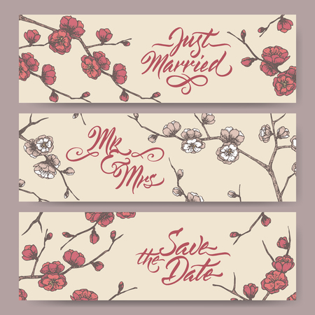 Set of three original wedding banners based on blooming plum branch color sketch and brush calligraphy. Ilustração
