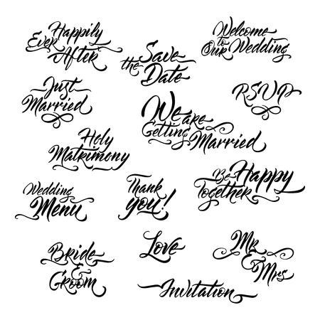 Ensemble de calligraphie au pinceau liée au mariage. Banque d'images - 97584326
