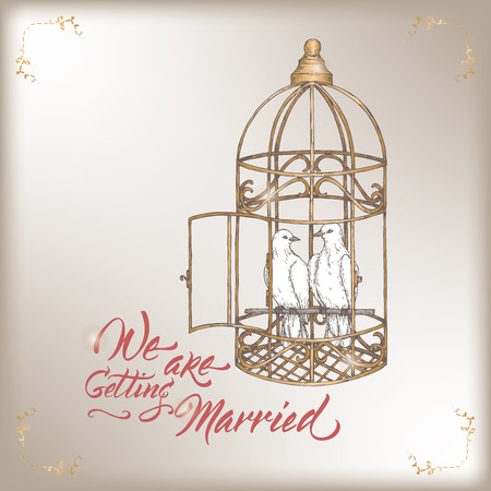 Romantic vintage Wedding invitation card template with calligraphy and white doves in cage sketch. Stock Illustratie