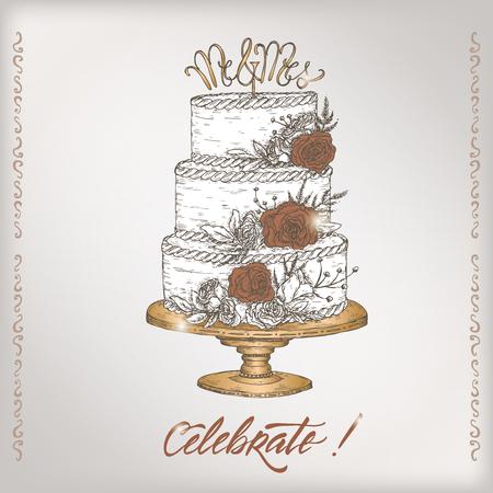 Elegant vintage wedding greeting card template with calligraphy elegant vintage wedding greeting card template with calligraphy and bouquet sketch stock vector 97354604 m4hsunfo