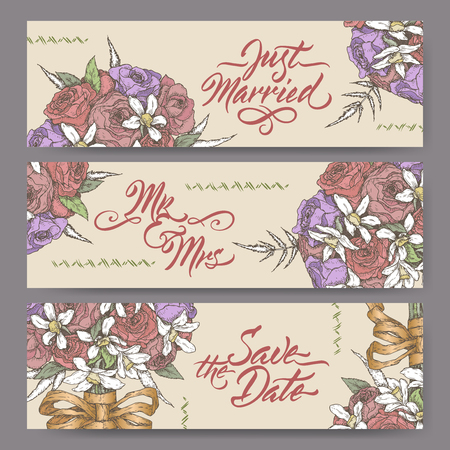 Set of three original wedding banners based on bouquet color sketch and brush calligraphy.