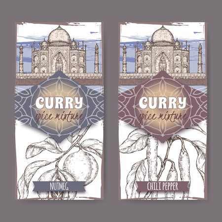Set of two labels with Nutmeg, chili peppers and Taj Mahal hand drawn color sketch. Curry spice mixture collection. Great for cooking, gardening design.