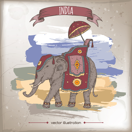 Vintage color travel illustration with decorated Indian elephant. Hand drawn vector sketch. Great for travel ads, brochures, labels.