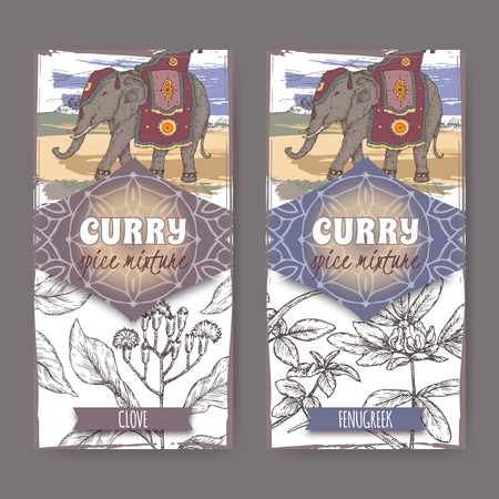 Set of two labels with clove, fenugreek and Indian elephant hand drawn color sketch. Illustration