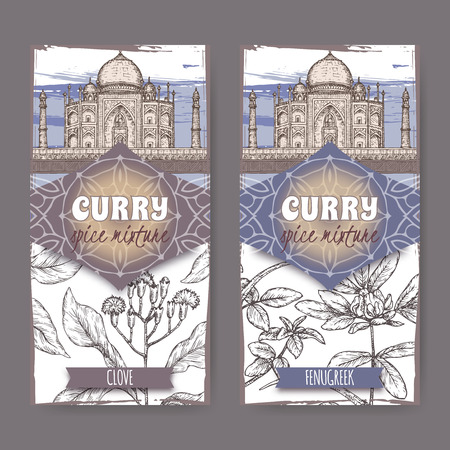 Set of two labels with clove, fenugreek and Taj Mahal hand drawn color sketch. Illustration