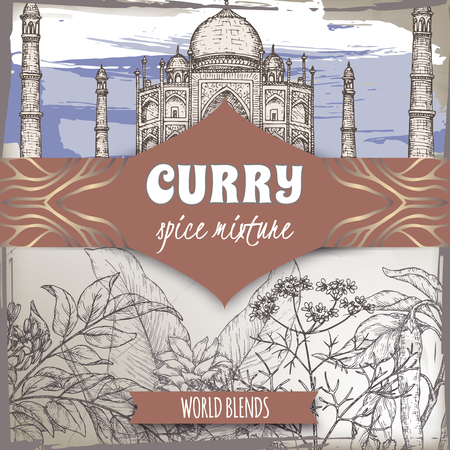 Curry spice mixture template with curry tree, turmeric, coriander, chili pepper and Taj Mahal color sketch. Illustration