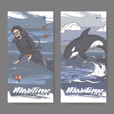 Two vintage color banners with scuba diver and jumping whale sketch. Maritime adveture series. Great for travel ads and brochures, sailing and tourist illustrations.