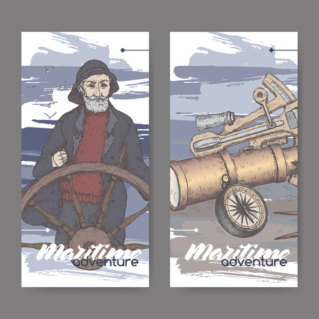 Two color labels with old captain and navigational instruments sketch. Maritime adveture series. Great for travel ads and brochures, sailing and tourist illustrations.