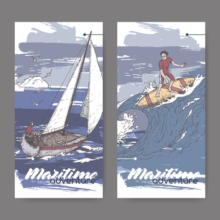 Two color banners with sailboat and surfer sketch. Maritime adveture series. Great for travel ads and brochures, sailing and tourist illustrations. Vektorové ilustrace