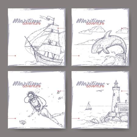 Quatre bannières avec grand voilier, phare, plongeur et croquis de baleine sauteuse. Série d'aventures maritimes. Idéal pour les publicités et brochures de voyage, les illustrations de voile et touristiques. Vecteurs