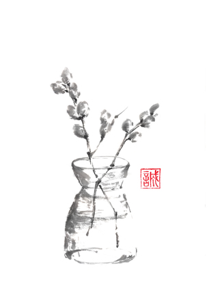 Vase with willow catkins Japanese style sumi-e painting.