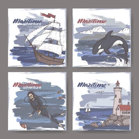 Quatre bannières de couleur avec grand voilier, phare, plongeur et croquis de baleine sauteuse. Série d'aventures maritimes. Idéal pour les publicités et brochures de voyage, les illustrations de voile et touristiques.