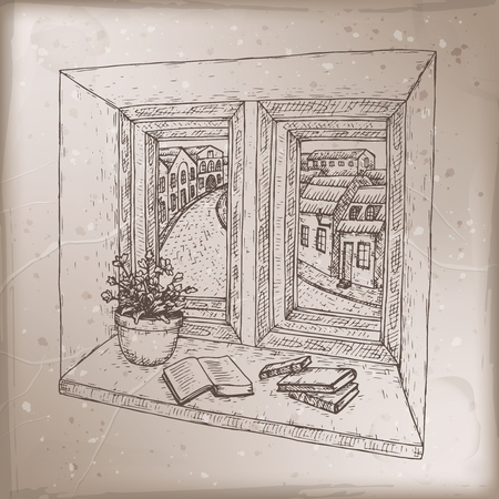 Romantic vintage card with books on windowsill sketch. Great for posters, books illustrations, holiday cards.
